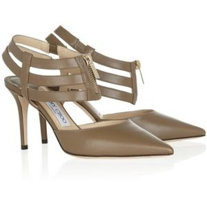 "Jimmy Choo ""Gemma"" zip front strappy ankle taupe"